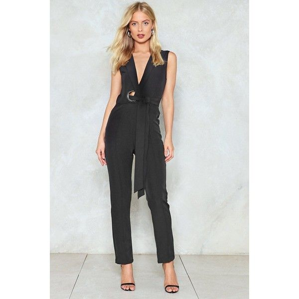 Nasty Gal Wrap Into Your Emotions Jumpsuit ($32) ❤ liked on Polyvore featuring jumpsuits, black, tailored jumpsuit, wrap jumpsuit, jump suit, nasty gal and oversized jumpsuit