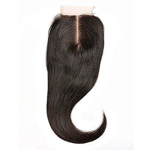 Single Best Brésilien Virgin Hair Lace Frontal Closure Human Hair Extension de Cheveux Pas Cher Stright 3.5″X4″ Middle Part 14inch: Middle…