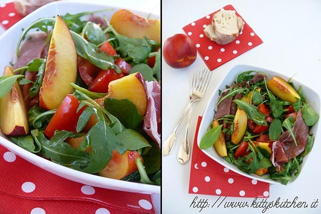 Italian recipes...    Insalata di pomodori e pesche con prosciutto