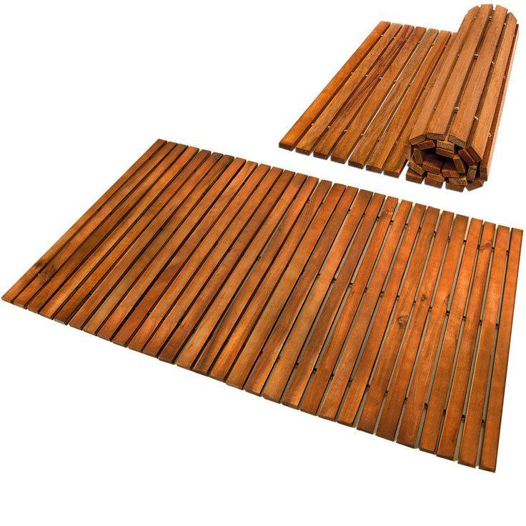 Badematte Badmatte Holzmatte Akazie Holz Badvorleger Vorleger Duschvorlage Matte | eBay