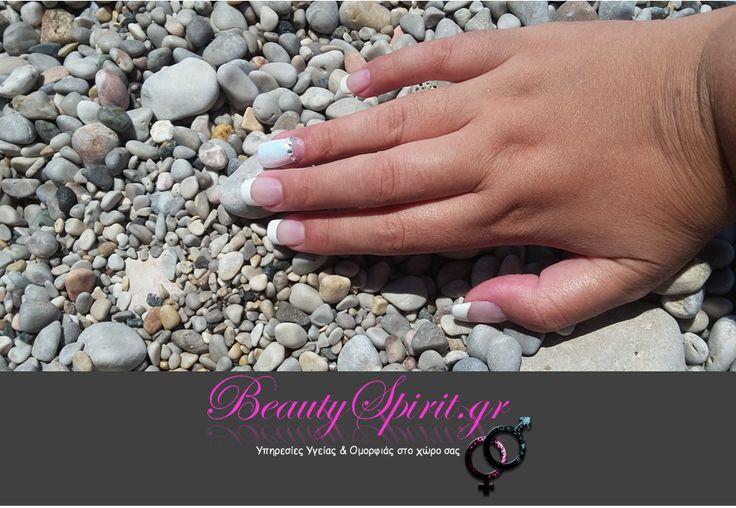 Τεχνητά νύχια με ακρυλικό, μόνιμο γαλλικό και εφέ γοργόνας #beautyspiritgr #artificialnails #manicureathome#manicurestospiti #bridalmanicure #bridalnails#summermanicure