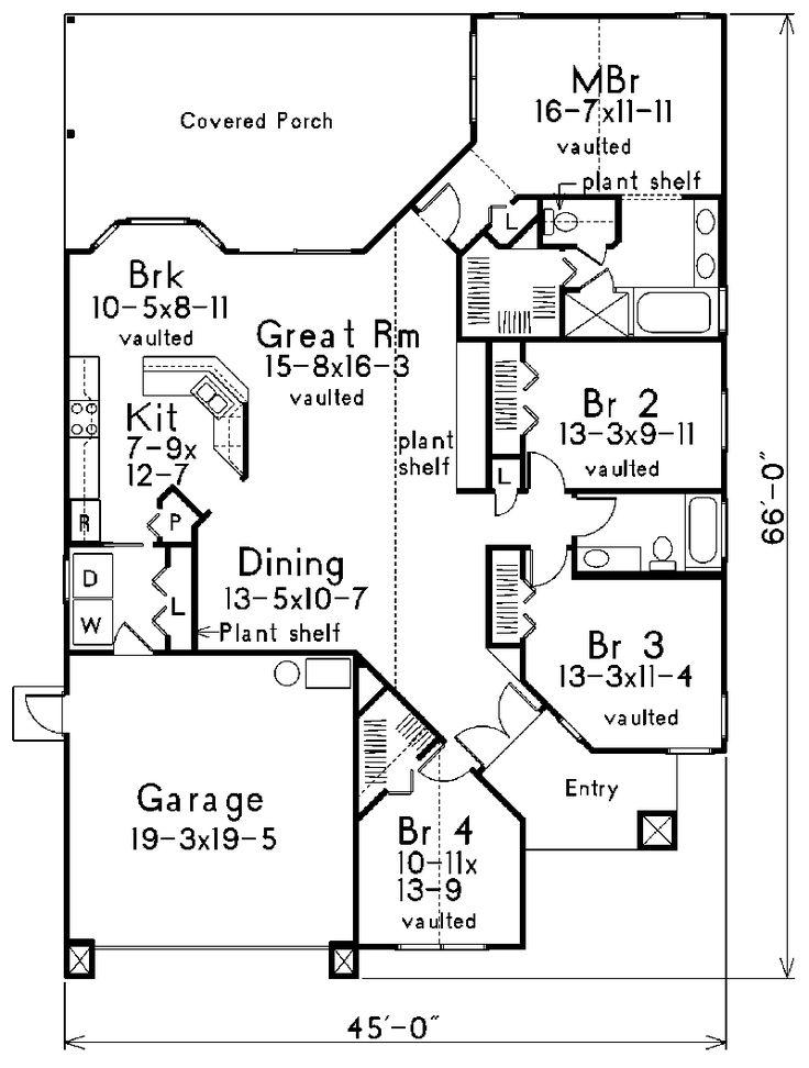 4 bedroom 2 bath dining mud ranch floor plans for Traditional floor plans