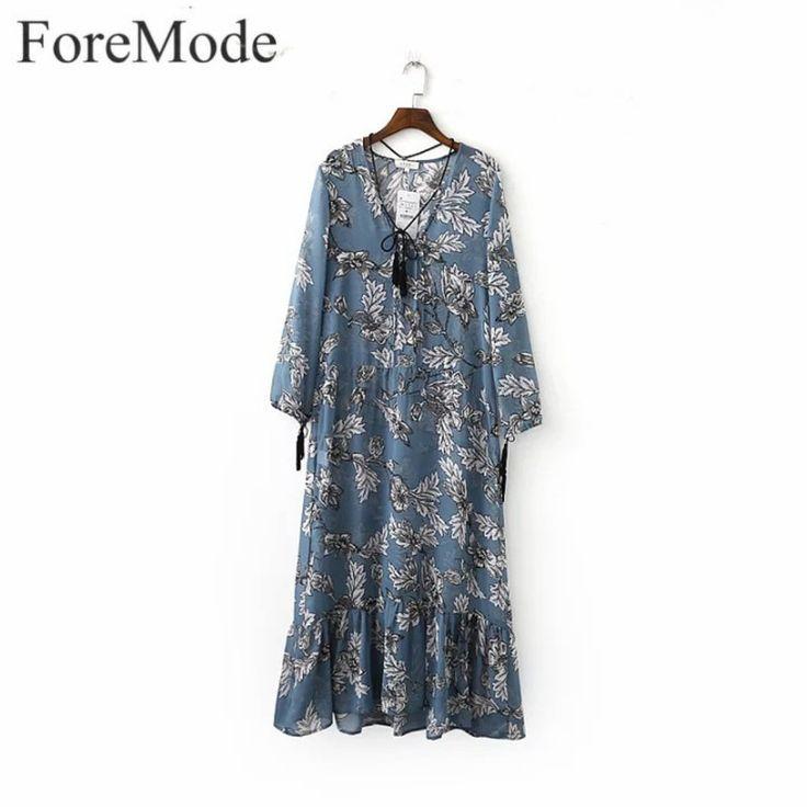 ForeMode Women Chiffon Long Sleeve V-Neck Cute Short Dresses  Bohemian Tassel Spike Branches Print Long Vacation Boho Dress