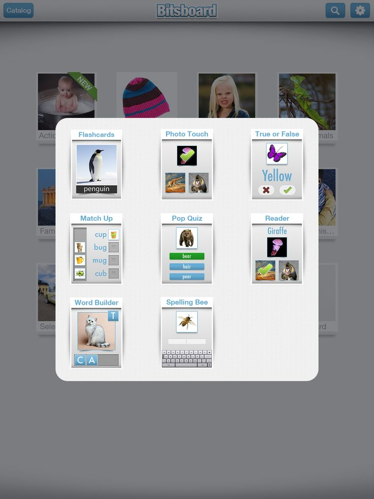Bitsboard: Skapa flashcards med bilder, text och ljud. Du kan också ladda ned flashcards från ett bibliotek.