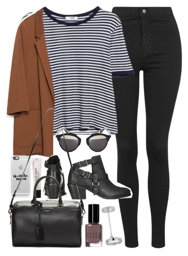"""""""Outfit with jeans and blazer"""" by ferned on Polyvore featuring Topshop, MANGO, Zara, Christian Dior, Casetify, Bobbi Brown Cosmetics, Forever 21 and Yves Saint Laurent"""