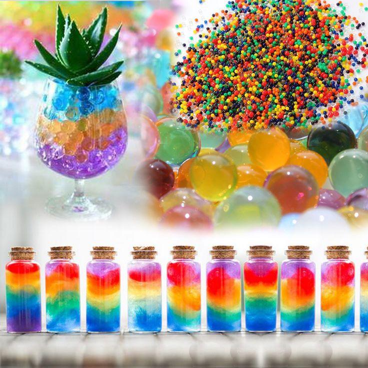 1500 partículas/lot Perla en forma de Cristal Del Suelo de Barro de Agua Perlas Grow bolas Mágicas de La Jalea hidrogel Creciente de Agua color de la mezcla