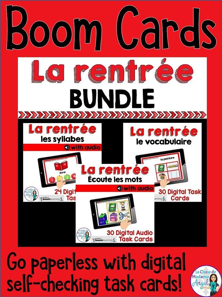 C'est la rentrée!  Have your French students practice their back to school themed vocabulary with this fun set of digital task cards in Fernch! Perfect for the paperless classroom, Boom cards are digital and self-checking!