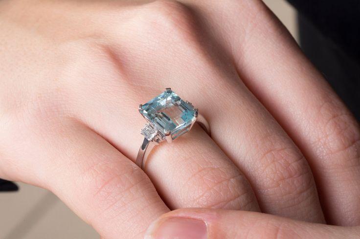 15%off Aquamarine Engagement Ring 18K Diamond Ring Blue