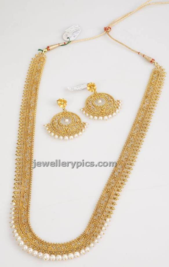 Gaja Heritage long gold necklace set - Latest Jewellery Designs