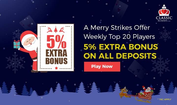 Still there is a chance to win 5% extra bonus at Classic Rummy on all your deposits. Be among the top 20 wagerers in Strikes rummy and avail this offer. Hurry Up Now!  #rummy #online #mobile #ios #games #free