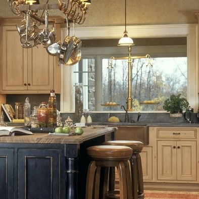 Cream cabinets, black distressed island | Home | Pinterest ...