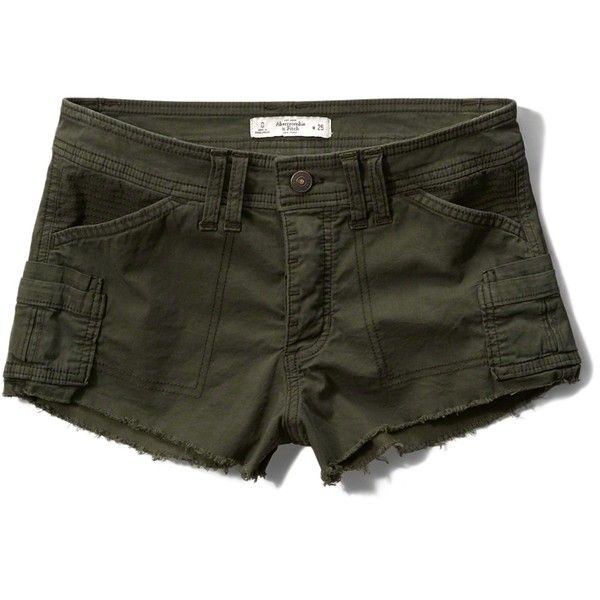 Abercrombie & Fitch Low Rise Military Boyfriend Short ($50) ❤ liked on Polyvore featuring shorts, dark olive, military shorts, olive shorts, short shorts, lightweight shorts and military style shorts