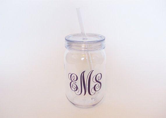 Plastic Mason Jar Tumbler, Monogram Mason Jar, Monogram Cup, Monogram Gift, Plastic Mason Jar, Mason Jar Cup, Monogrammed Mason Jar