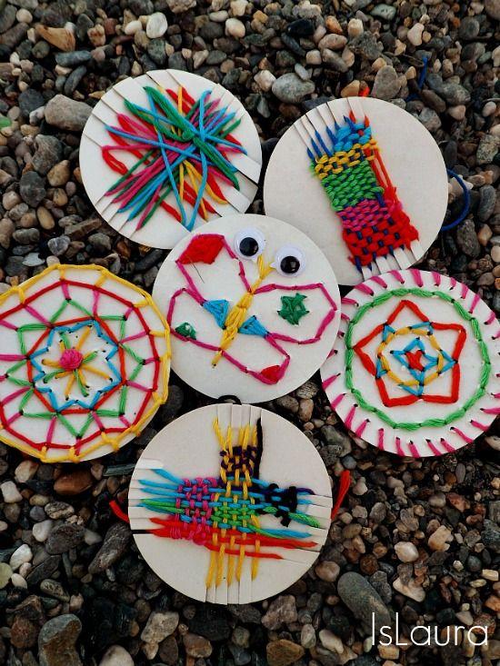 farfalla, coperchi con telaio, disegni con ago e cotoni colorati