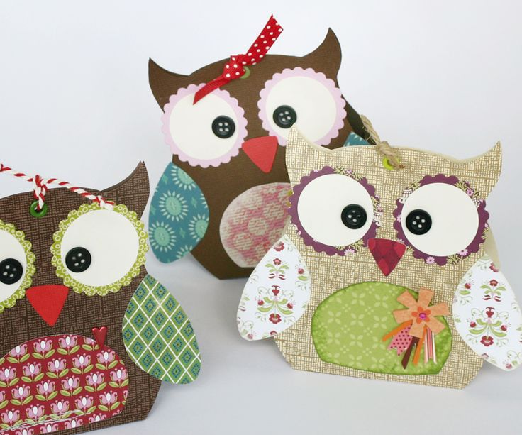 Paper box owls. I really like these little guys, but don't need boxes. Think I'll use the design in a different way. www.miriD.de: Geschenkschachtel: Eule Sophia
