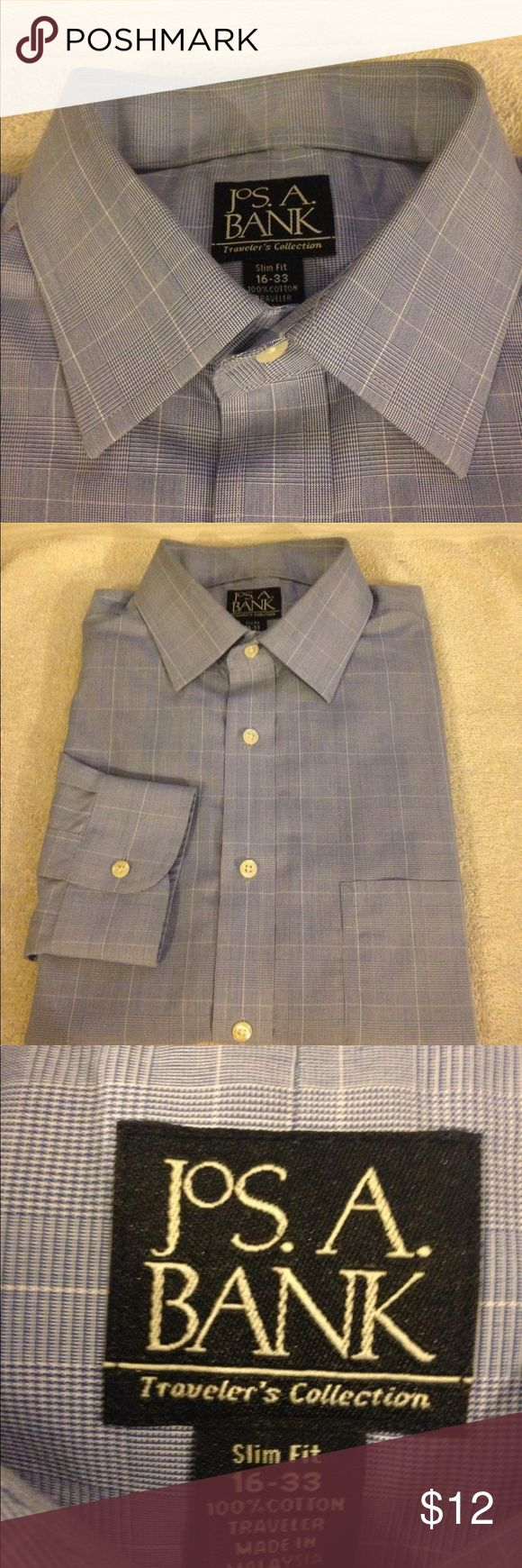 Jos A Bank Blue Glenn Plaid Slim Fit Shirt 16-33 Jos A Bank Blue and White Glenn Plaid Slim Fit Dress Shirt size 16-33! Great condition! Please make reasonable offers and bundle! Ask questions! :) Jos. A. Bank Shirts Dress Shirts