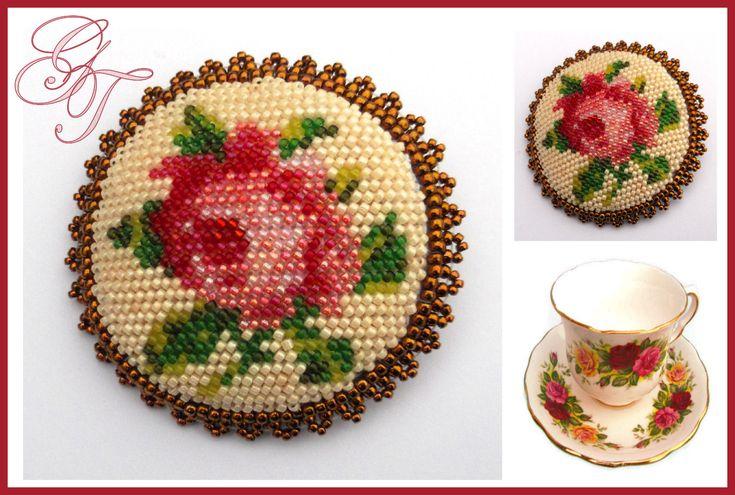 Чайная роза... | biser.info - всё о бисере и бисерном творчестве