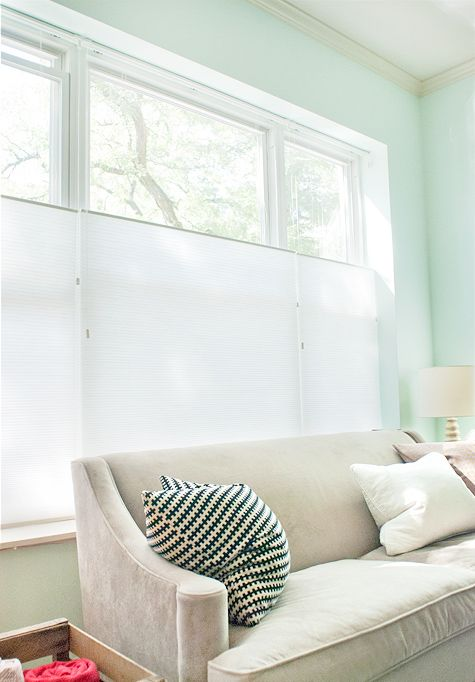 """Love this great window shade review from @yellowbrickhome.    They went with simple, modern top-down-bottom-up 3/8"""" double cell light filtering shades:  http://www.blinds.com/control/product/productID,8522"""