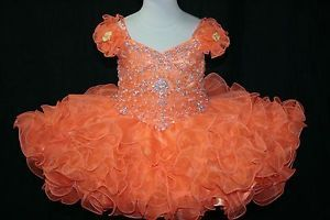 Infant Baby Girl Toddler Short National Glitz Cupcake Pageant Dress 0-5T Orange