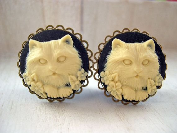 """Cat cameo plugs 20mm 13/16"""" gauges stretched ears lobes Gothic black black ivory"""