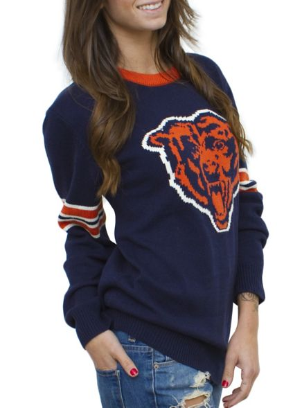 NFL Chicago Bears Unisex Throwback Intarsia Sweater - Women's New Arrivals - All - Junk Food Clothing