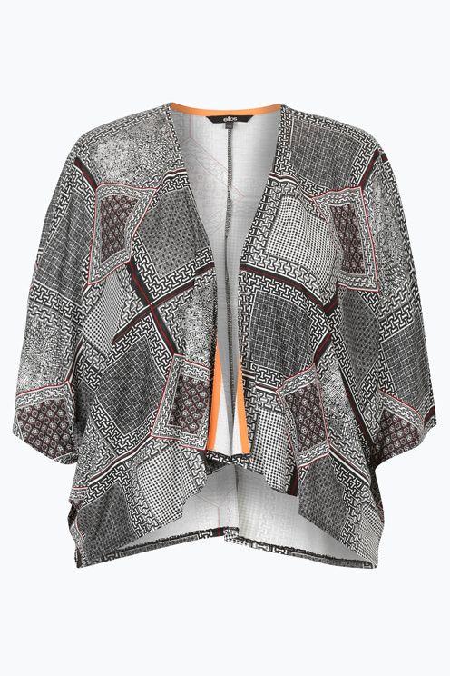 Top i kimonostil af viskose med løs oversized pasform. Åben model i tynd og skøn kvalitet som falder fint, perfekt over ærmeløse toppe. Kantbånd på inderside af hals og revers, vide ærmer. Længde ca. 52 cm i str. 44/48. <br><br>100% viskose<br>Pasform: relaxed<br>Jersey<br>Skånevask 40°
