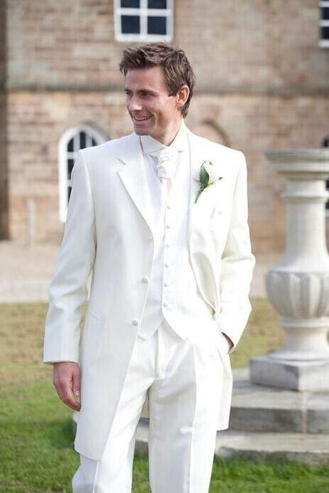 Custom Made Handmade White Three Piece Mens Wedding Suits Groom Tuxedos Dress Formal Party Jacket Pants Vest