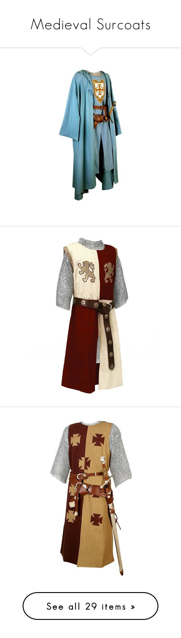 """""""Medieval Surcoats"""" by savagedamsel ❤ liked on Polyvore featuring costumes, medieval, arthur, medieval outfit, men, blue halloween costume, blue costume, hector, armor e period"""
