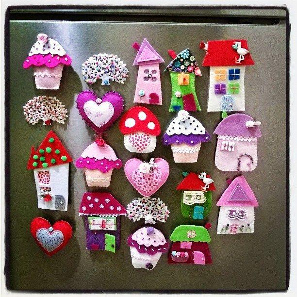 houses/hearts/cakes fridge magnets