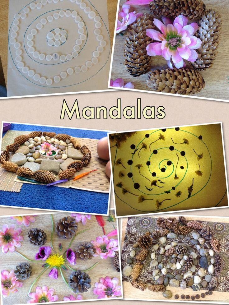 "Mandalas with loose parts from kids connect ("",)"