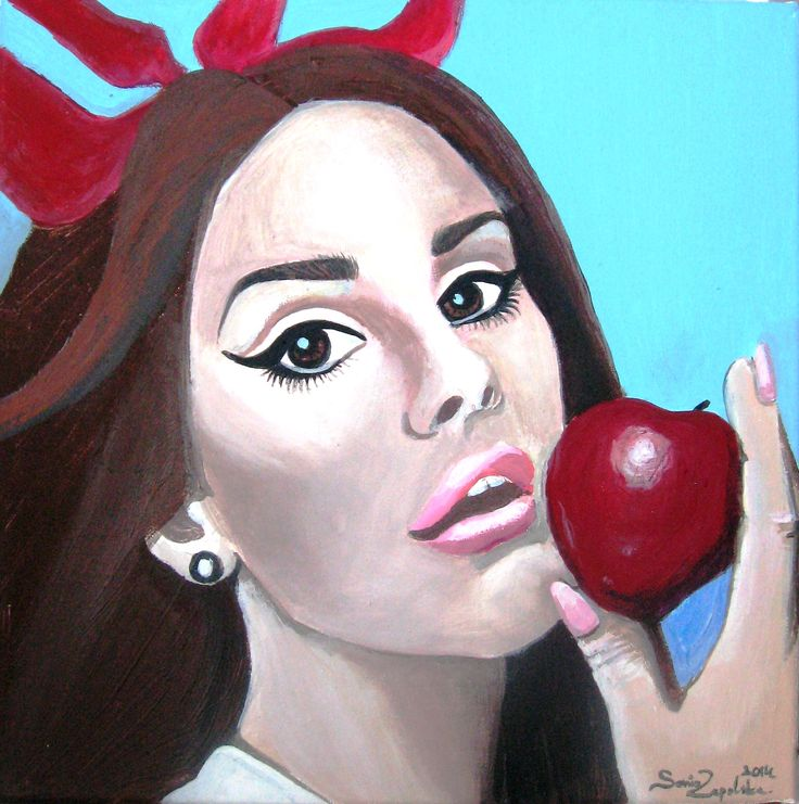 Lana with apple. 2014 - 30x30cm, akryl na płótnie.