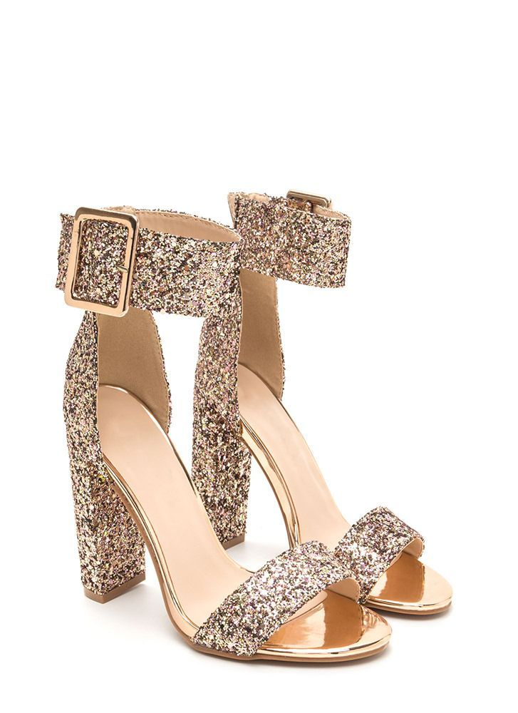 e72263c4c36 Wide-Eyed Wonder Glitter Chunky Heels ROSEGOLD