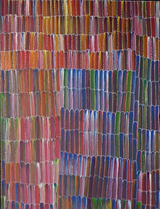 Jeannie Mills Pwerle painting of Anaty Bush Yam, 91x60 cm     #AboriginalArt