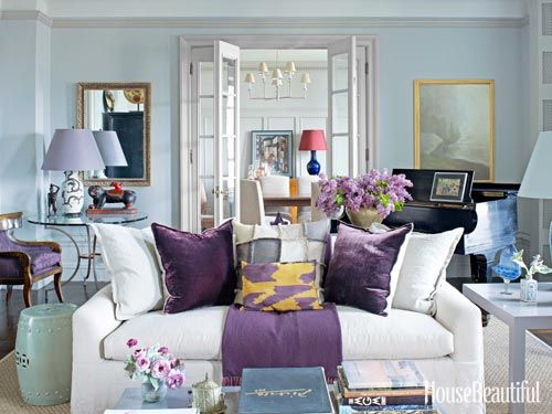 Purple accents. Design: Alexander Doherty. housebeautiful.com. #purple #living_room