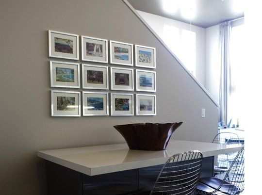Framing cheap postcards in inexpensive frames (or even without) and arranging in a grid is a simple punchy way to brighten up a wall. Try collecting one from every place you visit during Uni and holidays to keep the collection growing and make it really personal. #student #freshers #interiors