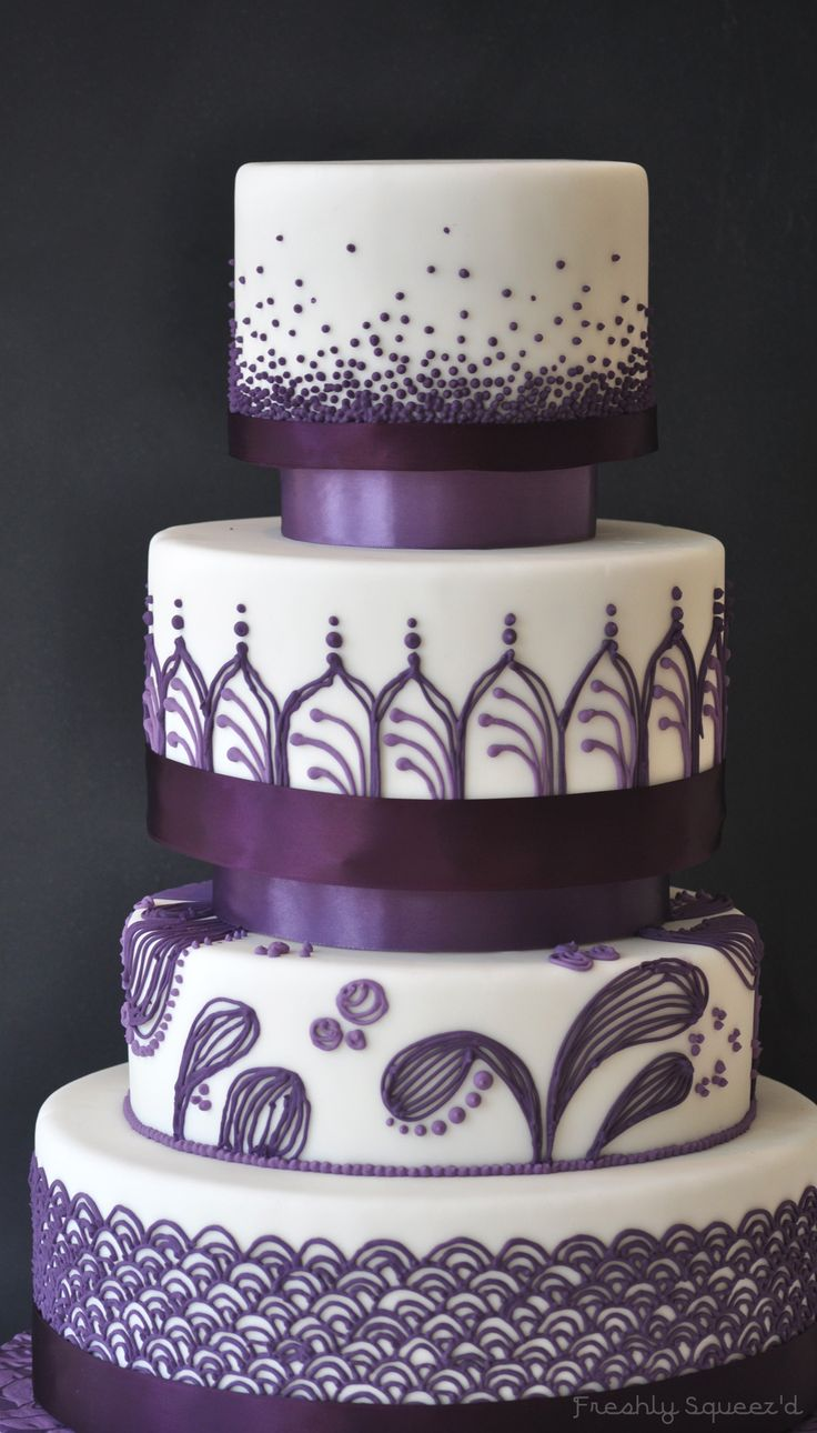 """""""An eggplant wedding""""   Dummy cake created for a group art project.  White fondant and eggplant purple royal icing piping."""