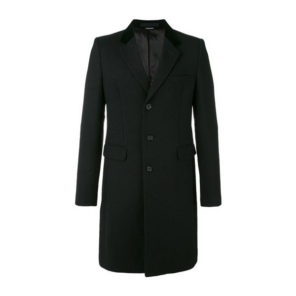 ALEXANDER McQUEEN Black Wool Fitted Coat (7.190 BRL) ❤ liked on Polyvore featuring men's fashion, men's clothing, men's outerwear, men's coats, black, mens fitted pea coat, mens wool outerwear, alexander mcqueen mens coat, mens fur collar coat and mens wool coats
