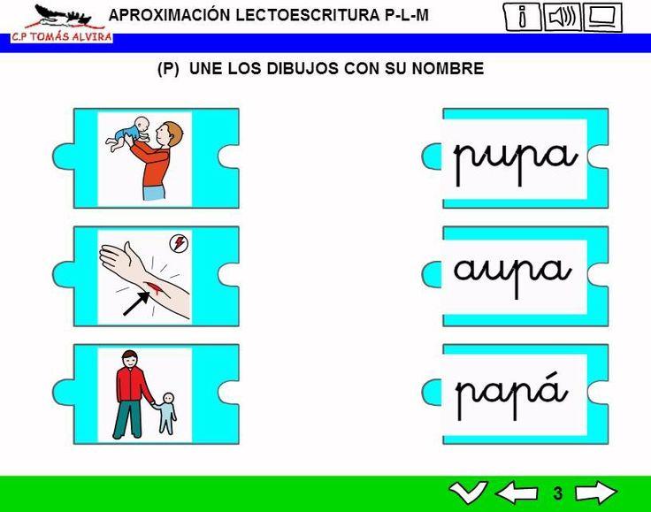 MATERIALES - Aproximación a la lectoescritura: P - L - M.  Libros interactivos multimedia (LIMs) de actividades de aproximación a la lectoescritura para Educación Infantil y 1º ciclo con pictogramas de ARASAAC y fotos en letra cursiva Escolar 2.
