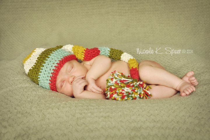 PATTERN Crochet Long Striped Elf Hat 4 Sizes Newborn to ...