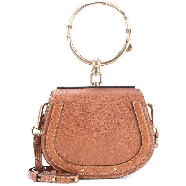 Chloé Small Nile Leather Bracelet Crossbody Bag ($2,015) via Polyvore featuring bags, handbags, shoulder bags, brown, chloe crossbody, brown leather purse, leather purse, leather crossbody purse and crossbody purse