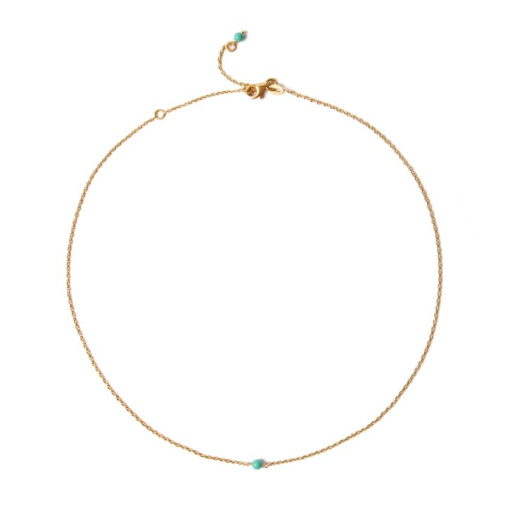 Thin #yellow #gold #necklace with little #turquoise _ #minimal #solitaire necklace _ #maschiogioielli #milano #jewels #shoponline #designjewels #accessories #gift #solitairenecklace