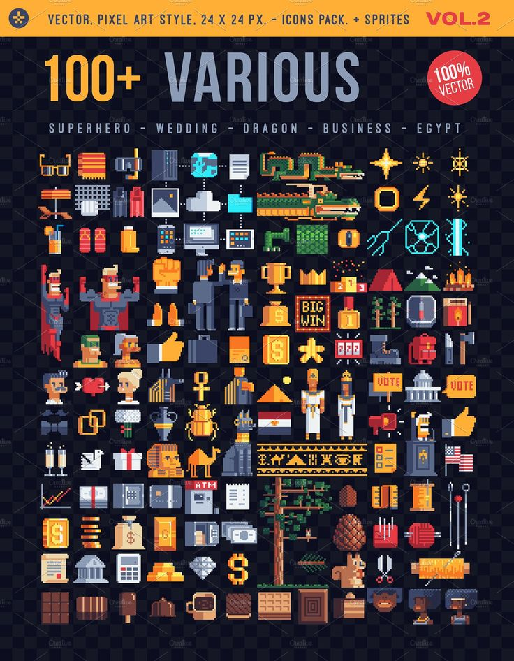 Various, 100+ pixel icons (With images) Pixel art, Pixel