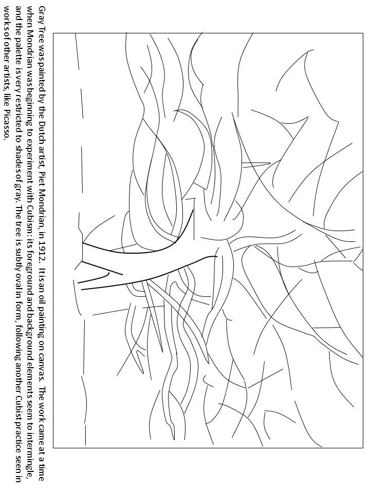 Gray Tree by Piet Mondrian FREE Coloring page Art