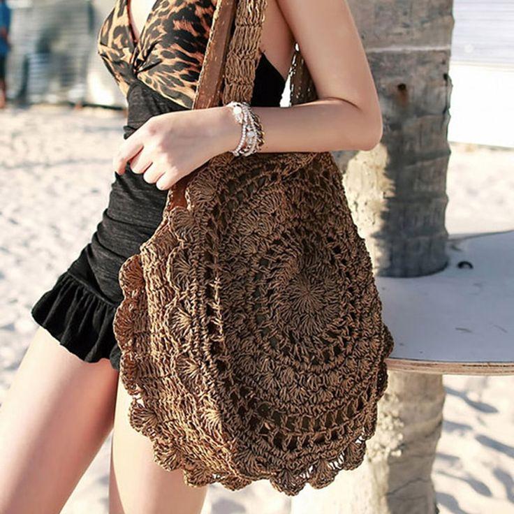 Flor del sol playa bolsa suave Crochet cuerda de papel redondo paja Boho Retro h…