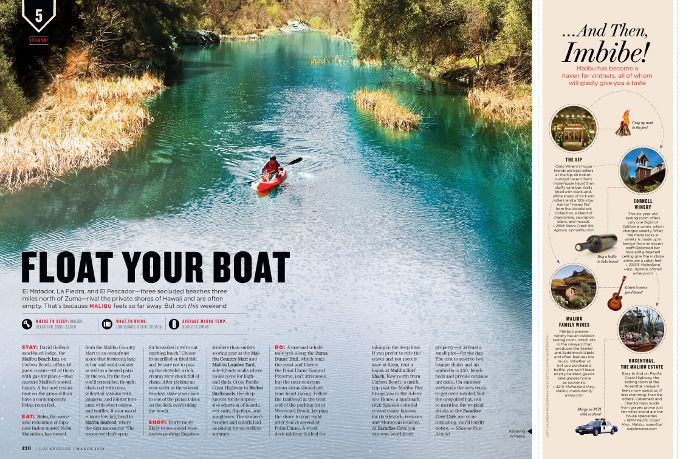 """""""Float Your Boat"""" feature in Los Angeles Magazine (via Carly Jo Creative)."""