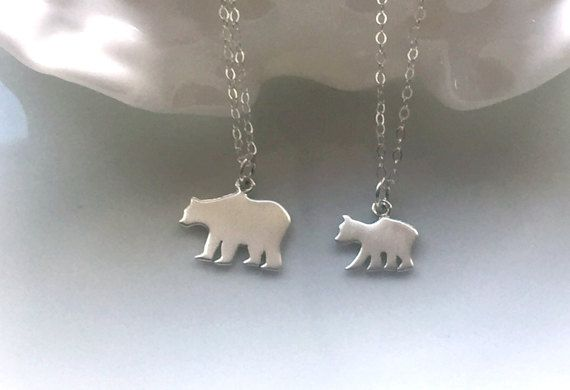 Mama Bear Baby Bear Necklace Set  Silver by 3LittlePixiesShoppe