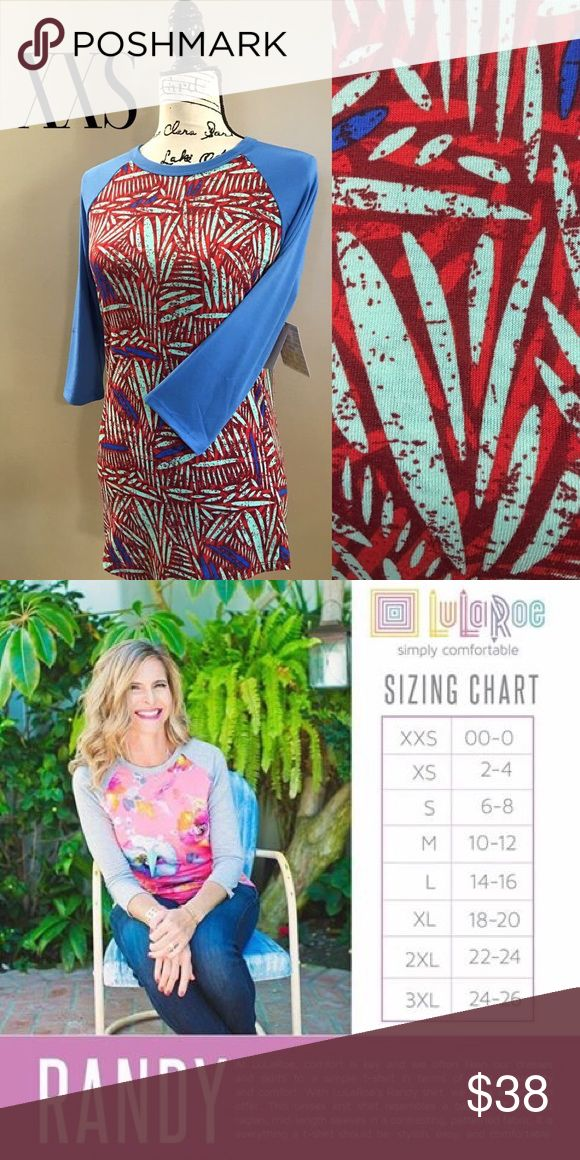 NWT LuLaRoe XXS Randy NWT baseball style 3/4 sleeved top. Sleeves are a solid blue with various shades of blue and red bodice. Bottom of shirt has a scoop design that nicely covers your bottom (perfect for when wearing leggings). Can also go great with jeans, shorts or a skirt. Reference sizing chart to ensure correct size. (Can size up or down depending on how loose or tight of a fit you're looking for) LuLaRoe Tops