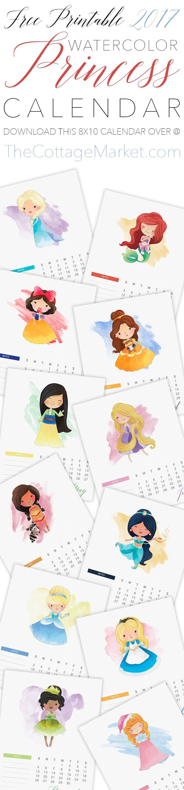 Free Printable 2017 Watercolor Princess Calendar! / Calendarios Princesas 2017
