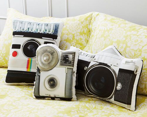 Handmade vintage camera pillows by Ronda J Smith