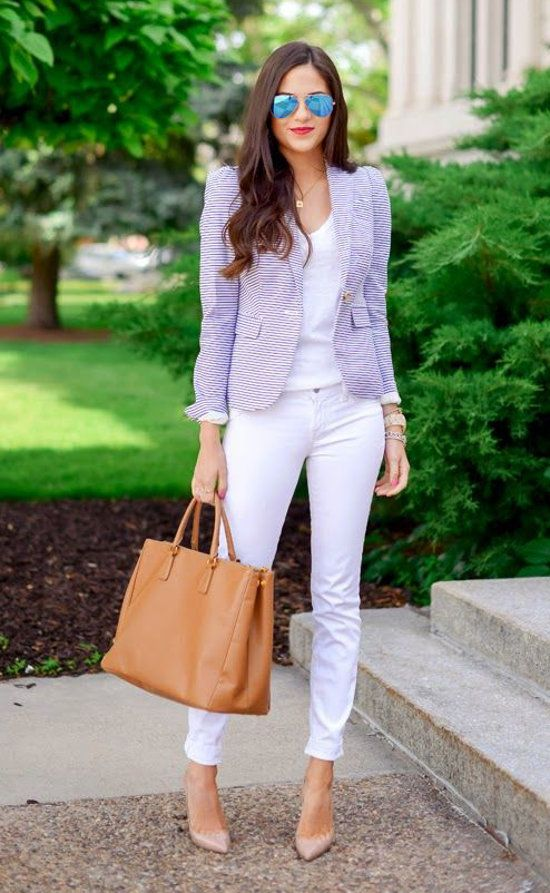 White on white, fitted blazer mid waist and structured shoulders finally nude pumps